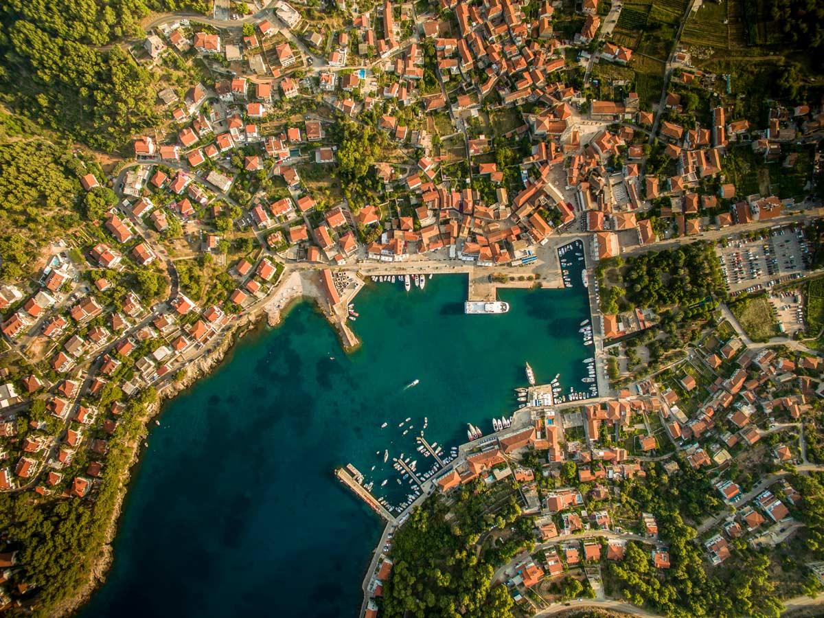 Jelsa Croatia aerial view of beautiful mediterranean city harbour bay