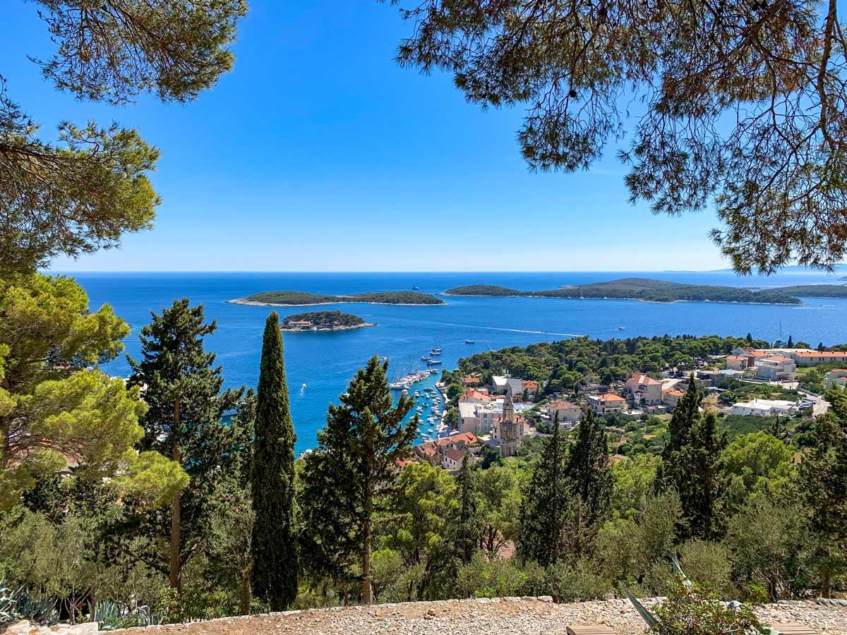 Blue mediterranean sea islands coastal city village