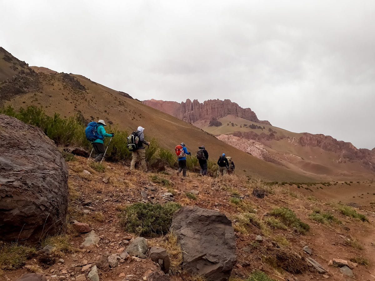 Adventure hiking group trek Mount Penitentes Circunvalacion exploring mountains Argentina