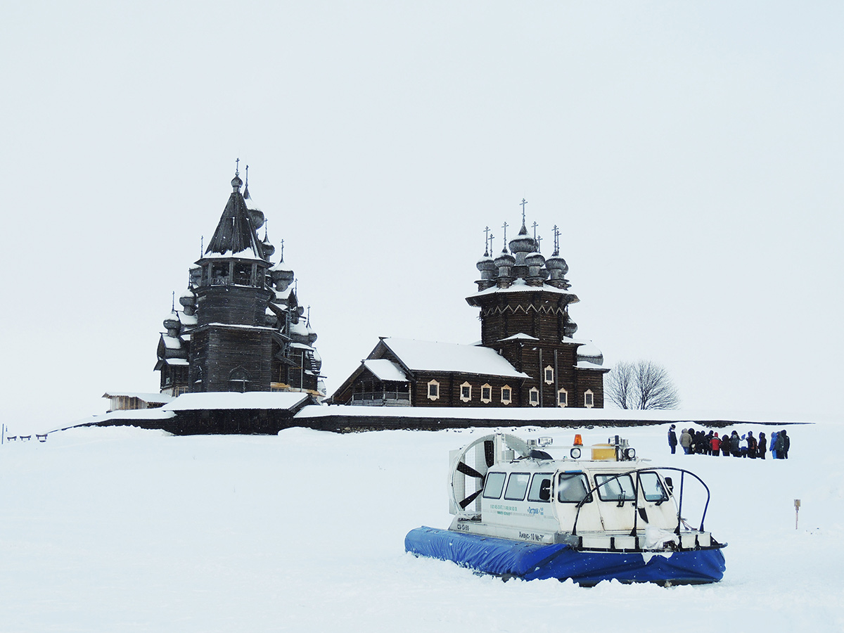 Beautiful church in Karelia surrounded by snow