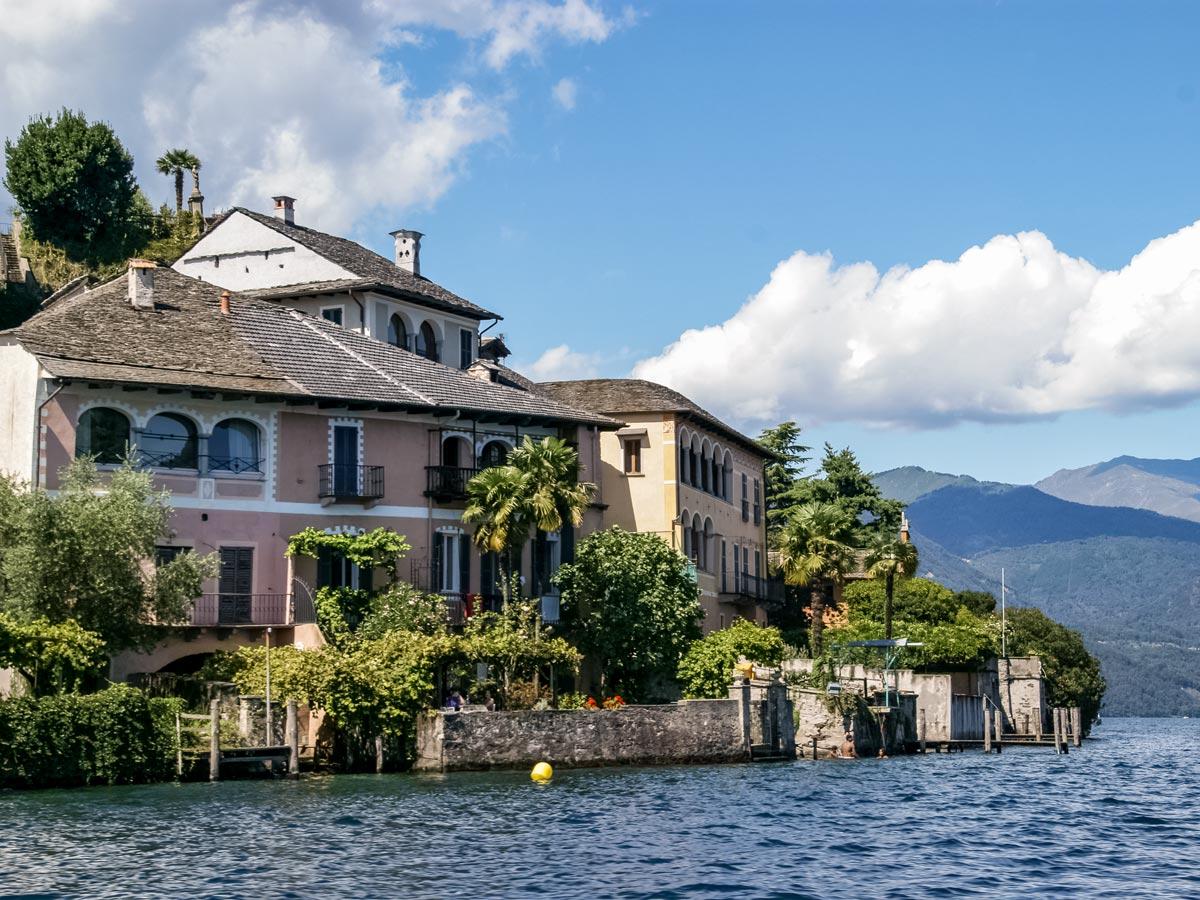 Isola di San Giulio Vista dal lago Cycling tour around Italian lakes Italy