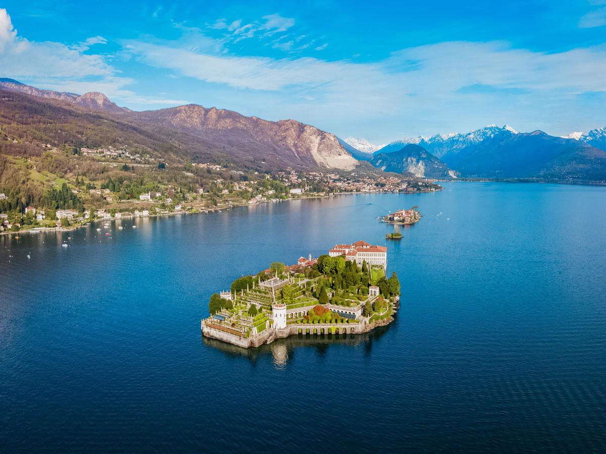 Isola Pescatori island lake city Italian mountains cycling bike tour Italy