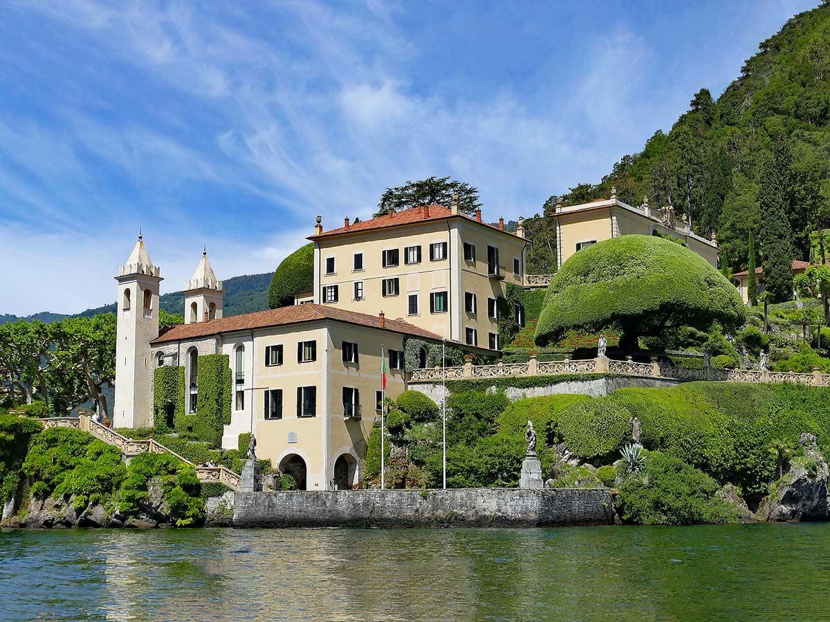 Lago Como Villa del Balbianello esterni lakefront villa estate cycling tour Italy