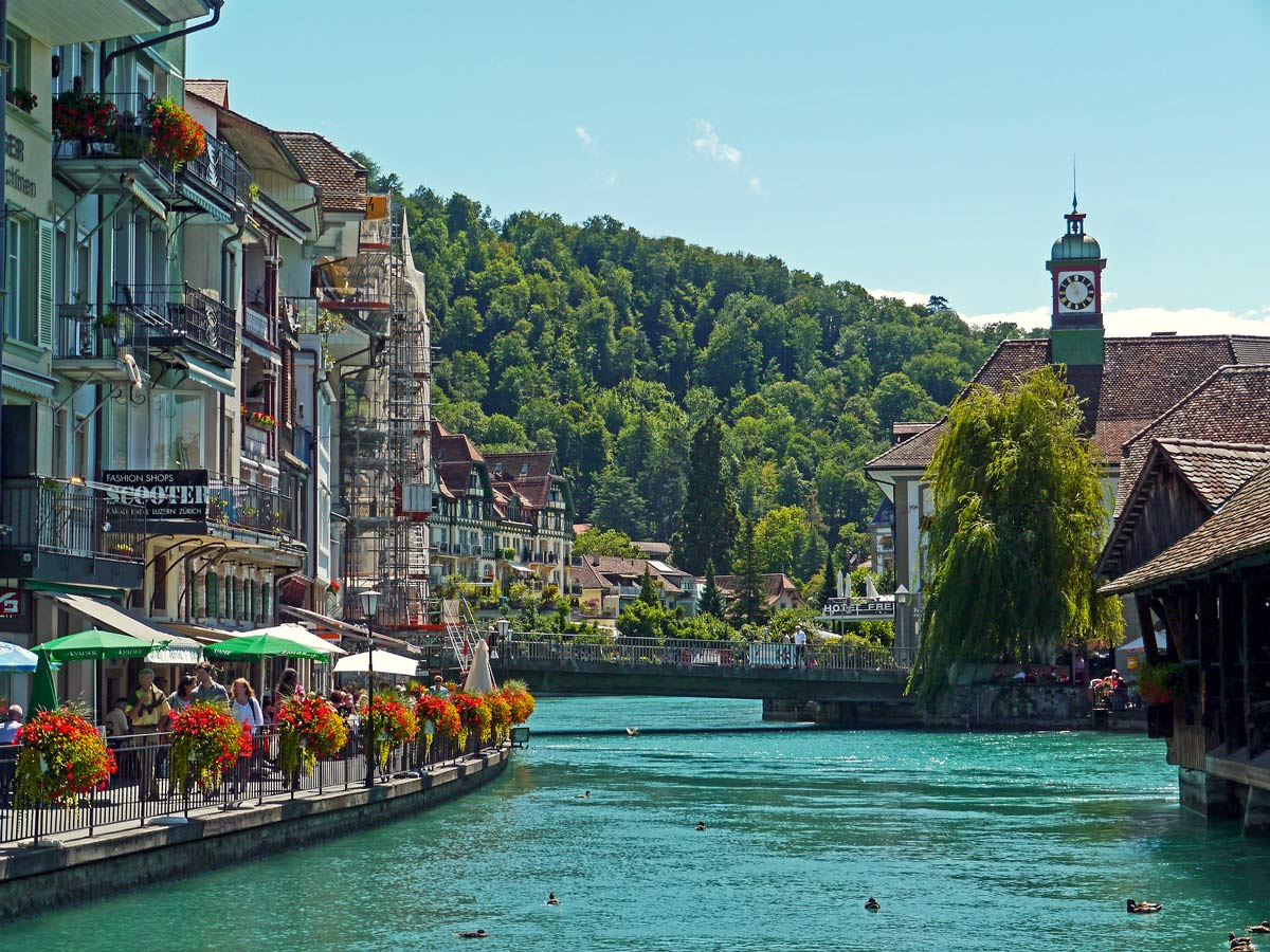 Thun Lake and village in the Swiss Alps in Italy