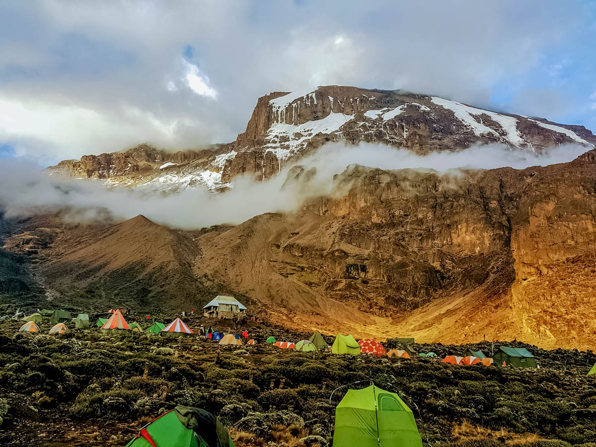 Mount Kilimanjaro Breakfast Cliff Barranco Wall and hiking basecamp in Tanzania