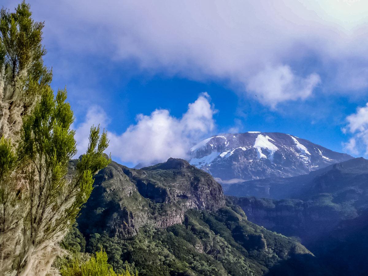 Beautiful mountain valley views hiking Mount Kilimanjaro Tanzania