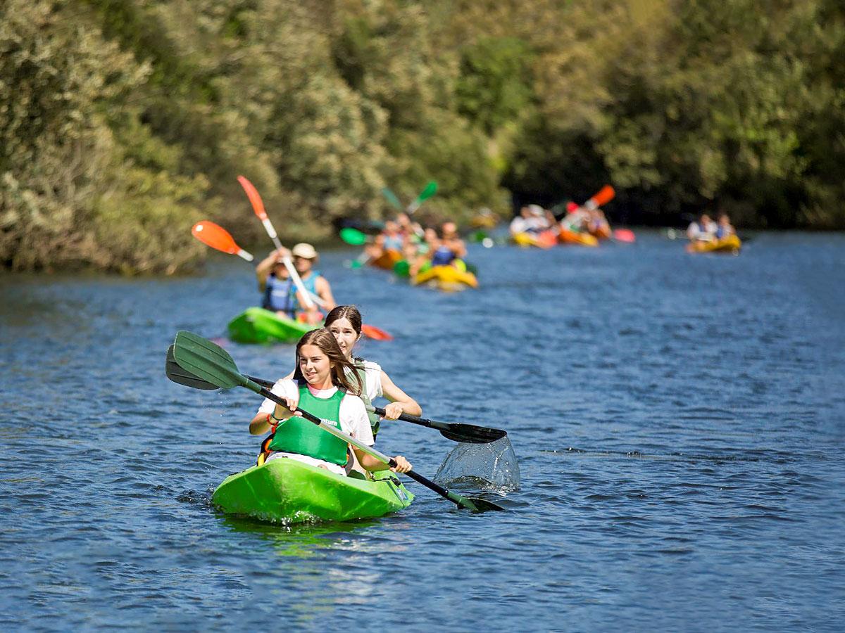 Family kayaking adventure bike tour Minho Portugal