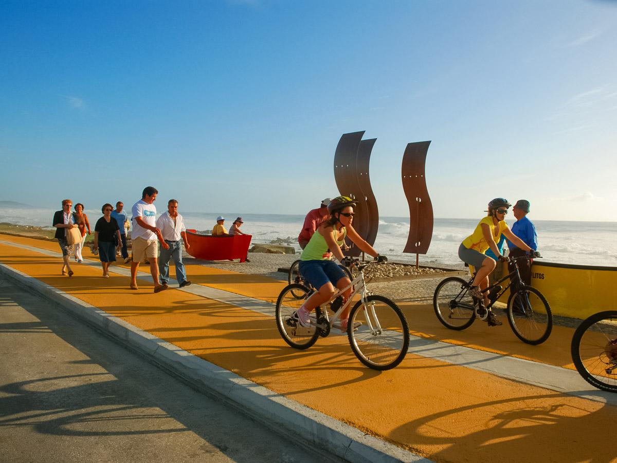 Biking along the ocean shoreline