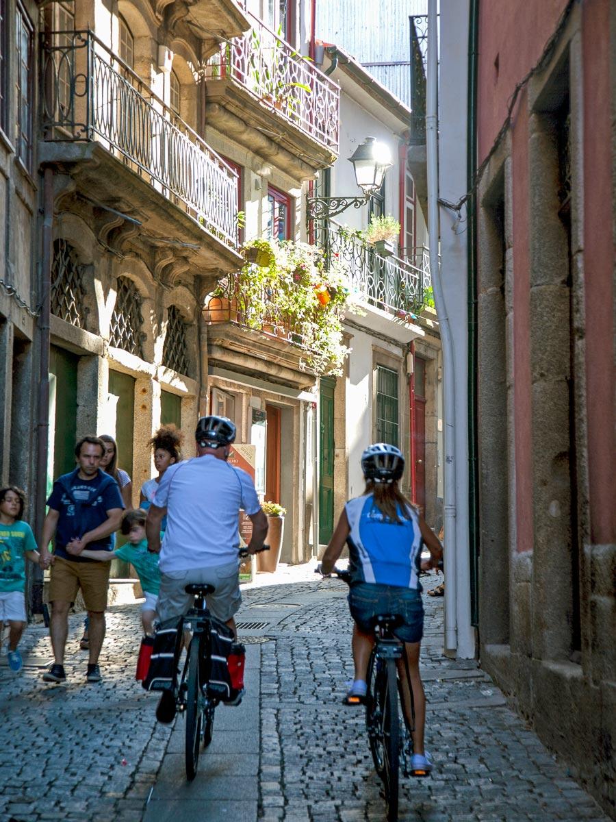 Biking cobblestone streets Porto