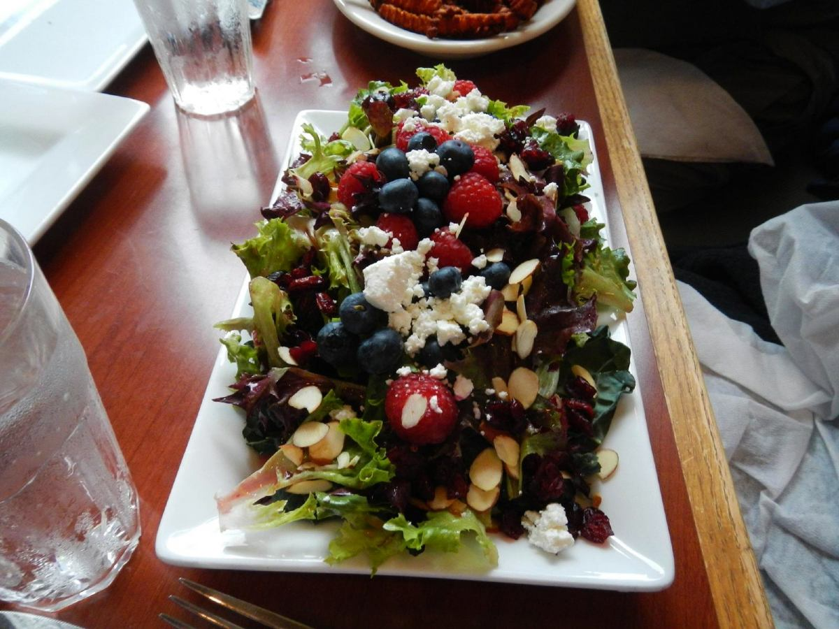 Delicious meal served on Northwest Passage Cycling tour