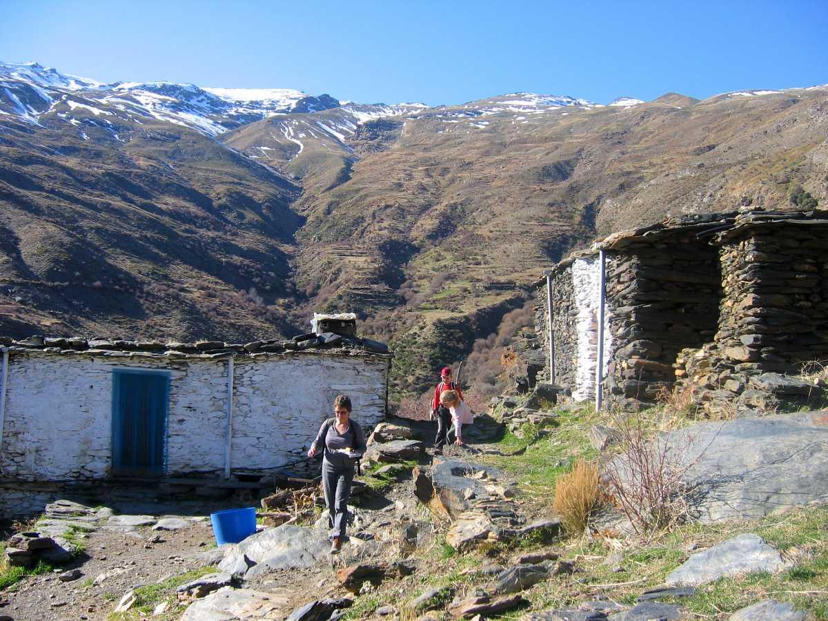 Alpujarras high huts seen on a hiking tour