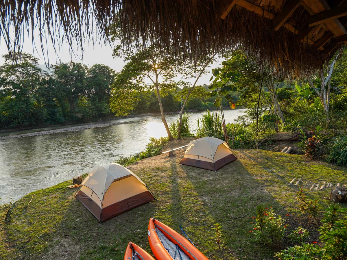 Peru Galapagos Amazon family kayaking tour riverside beach camping