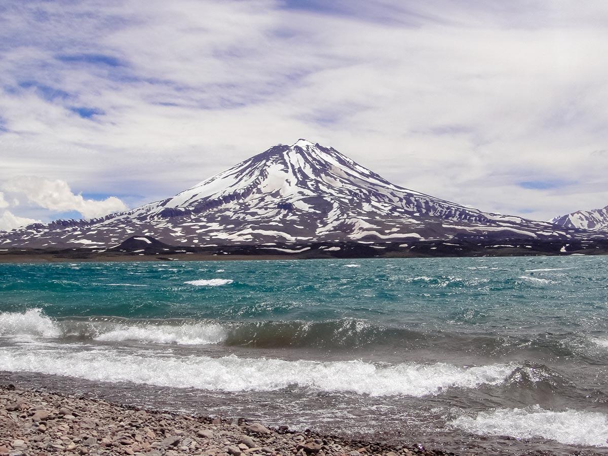 Volcan maipo Volcano wavy lake Argentina