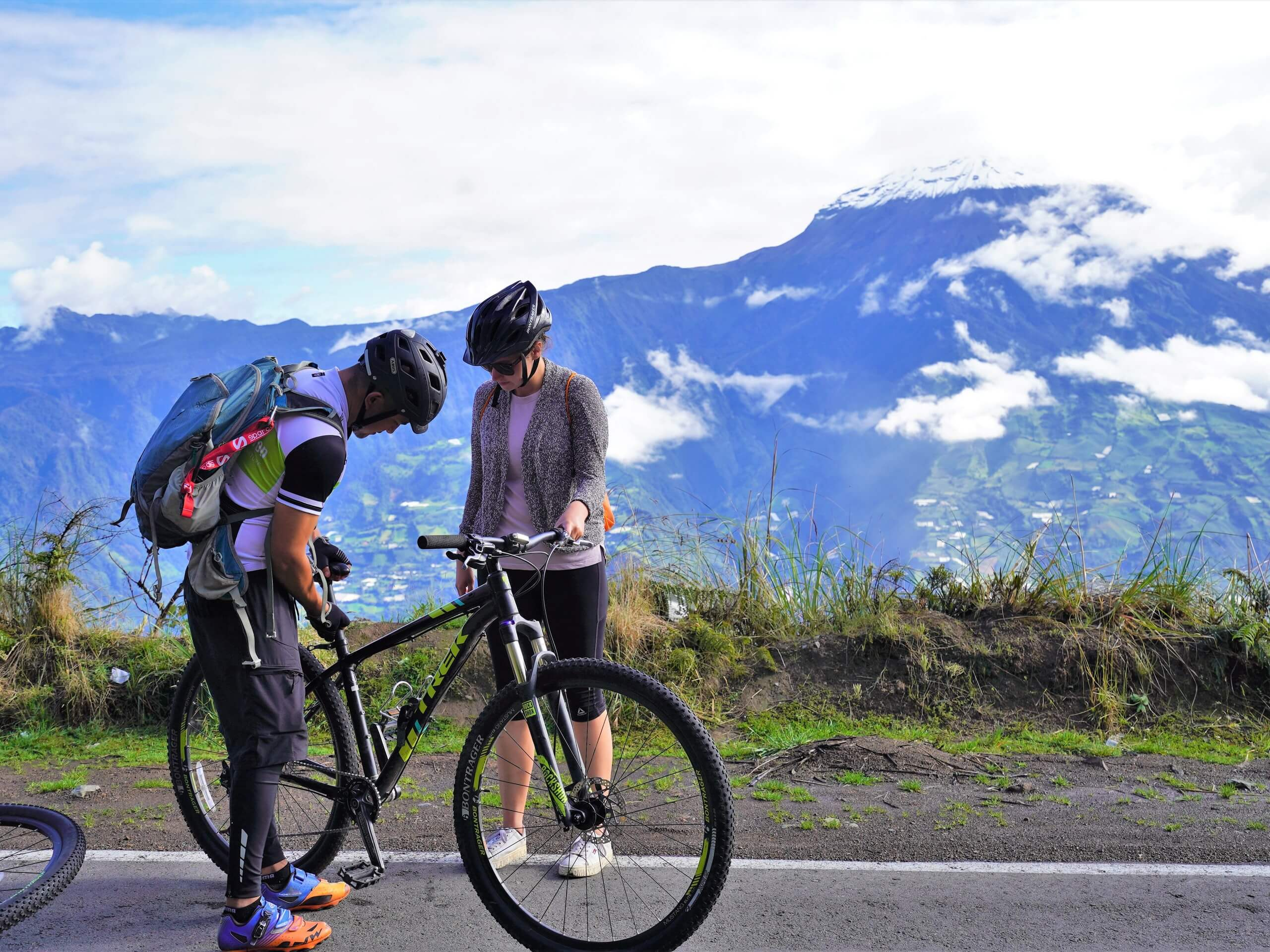 Two bikers checking out the views in Ecuador