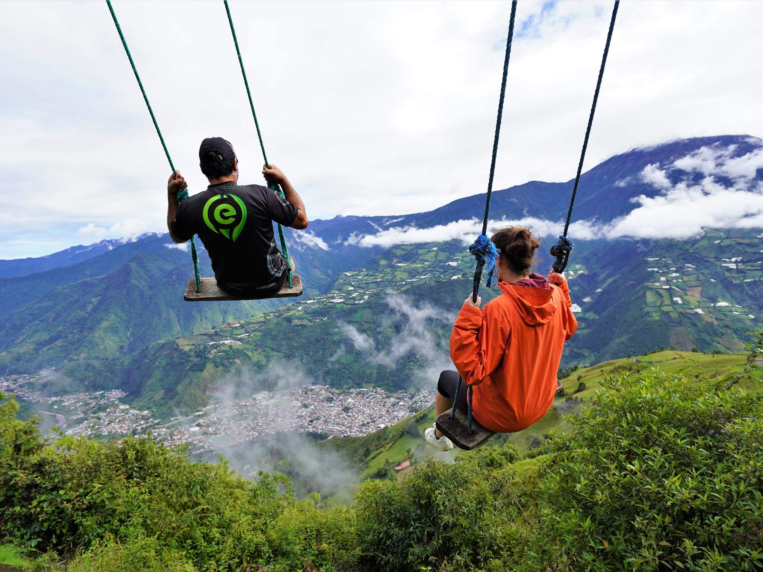 Swinging above the town of Banos in Ecuador