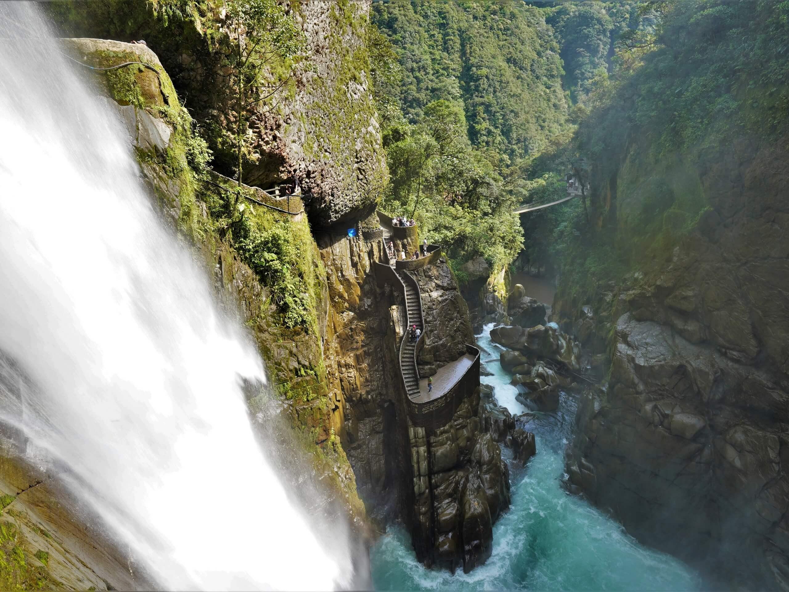 Huge waterfall near the staircase in Ecuador