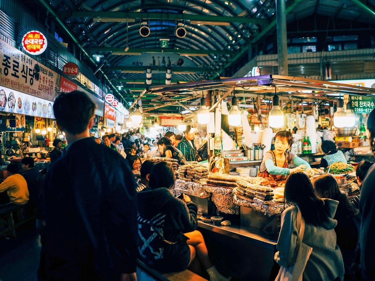 Gwangjang market adventure bike tour South Korea