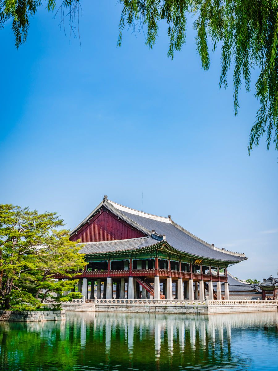Gyeongbokgung Palace water mirror reflections Seoul South Korea adventure trekking tour asia