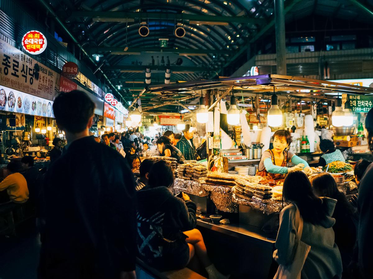 Gwangjang market Jongno gu Seoul South Korea adventure trekking tour asia
