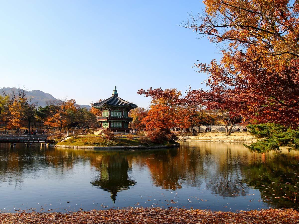 Gyeongbokgung palace water mirror reflections autumn fall exploring South Korea adventure tour
