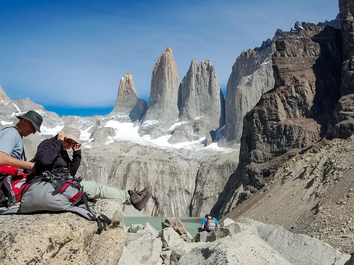 Las Torres hikers exploring Chile patagonia