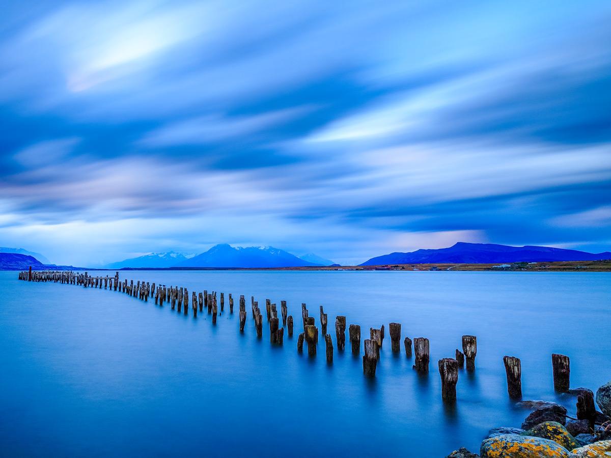Puerto natales old dock lake Valdez Patagonia Chile adventure tour