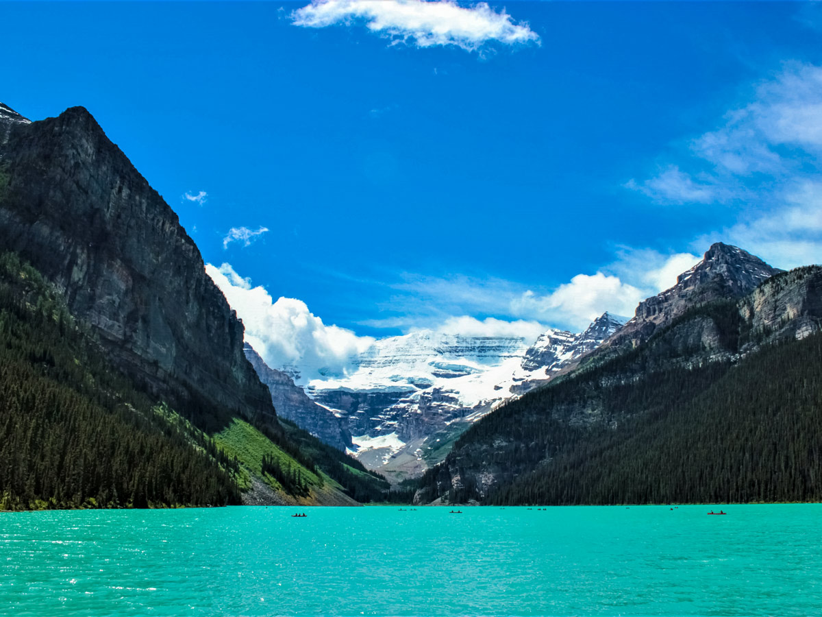 Paddling canoeing natural Lake Louise Banff National Park Canada