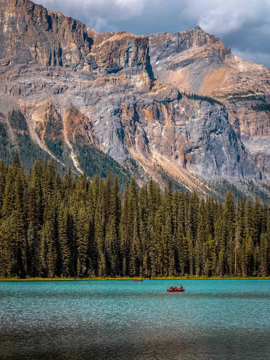 Paddling canoeing natural lake rocky mountain Golden British Columbia BC Canada