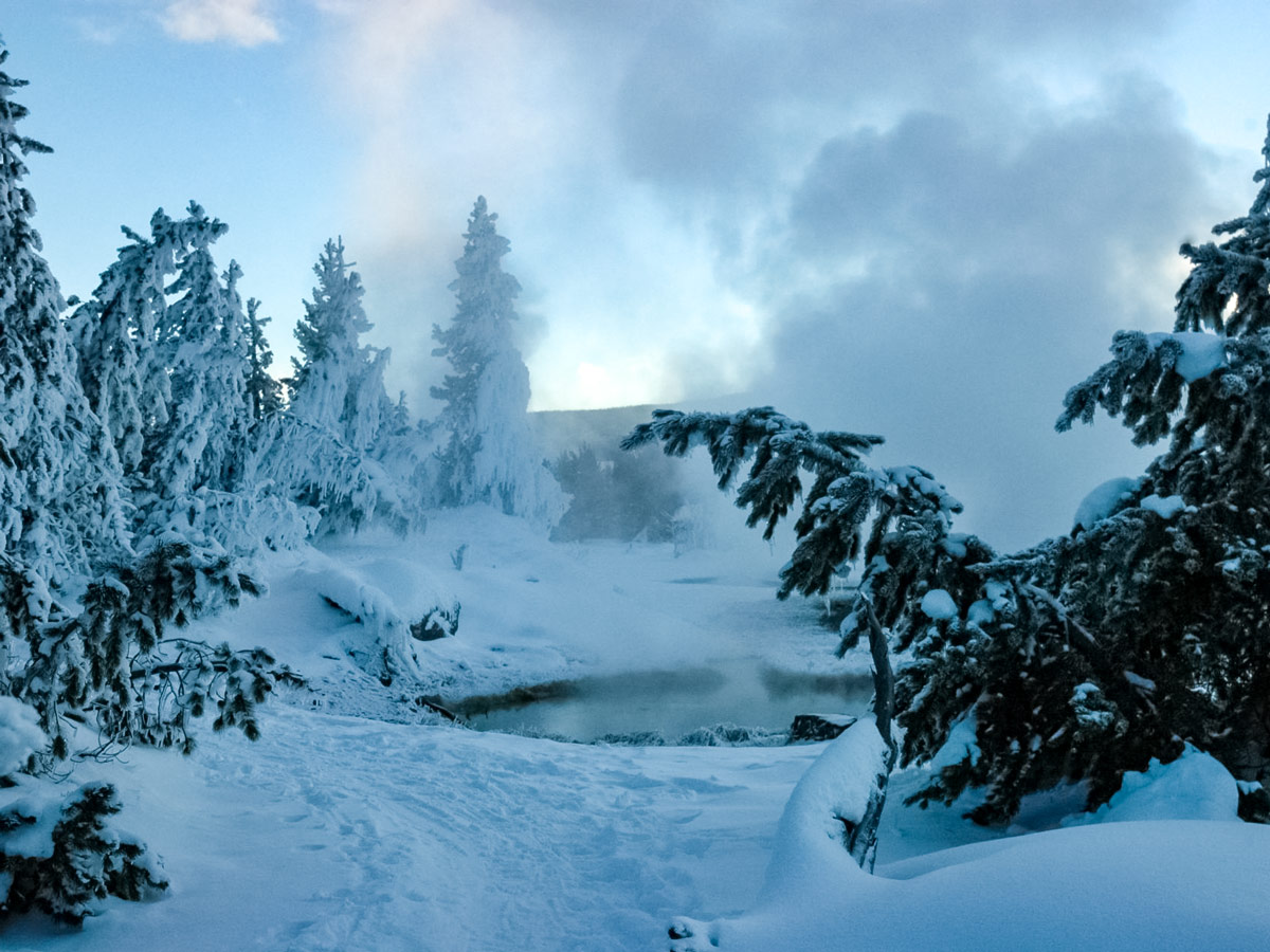 Yellowstone natural hotsprings snowshoe adventure tour Yellowstone National Park USA