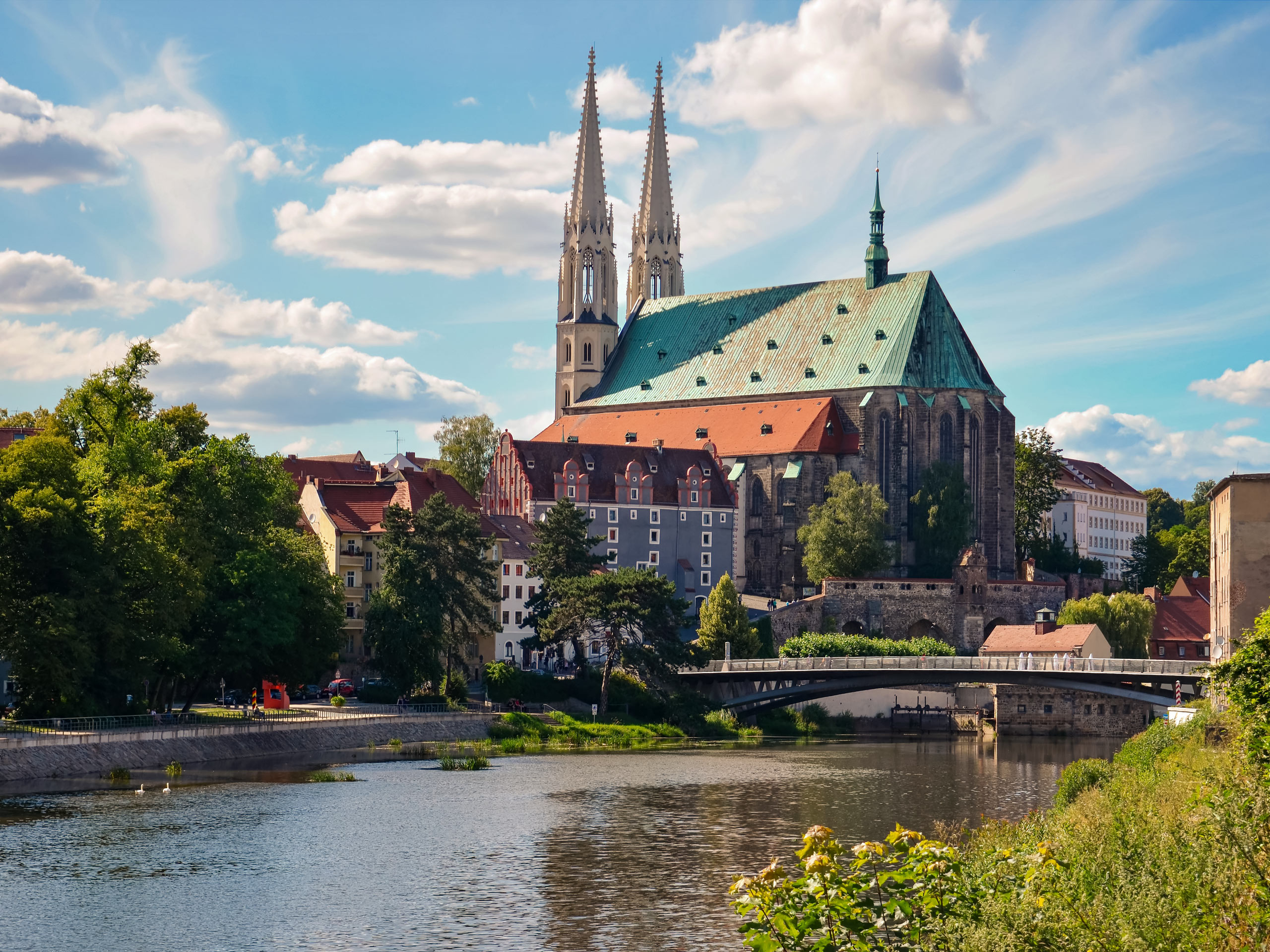 Görlitz Cathedral beside the river bike tour Germany