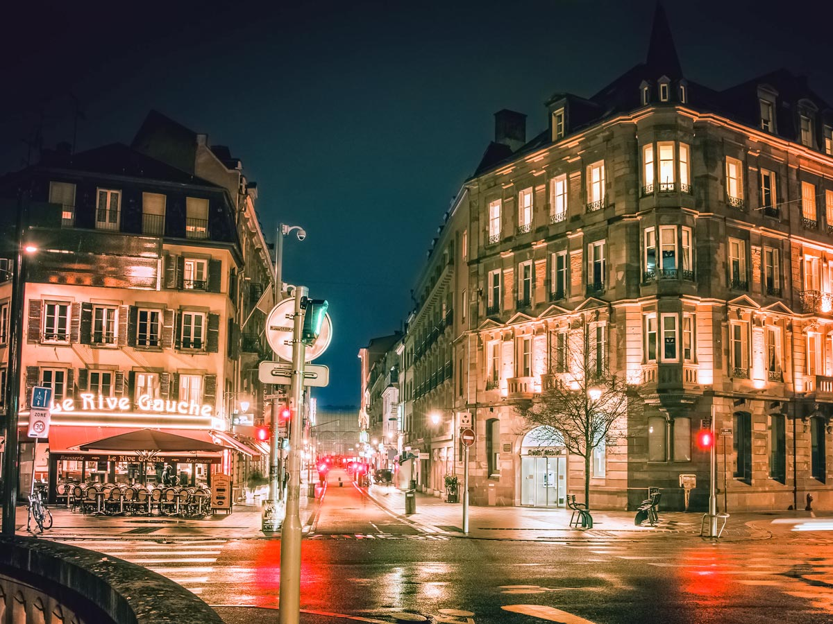 Downtown Strasbourg night city lights exploring wine route Alsace France
