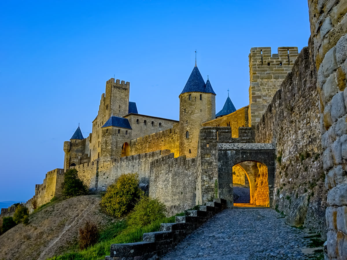Old stone castles and Chateaus exploring wine route Alsace France