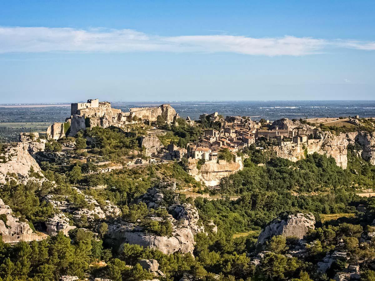 Baux de Provence countryside view on the horizon exploring Provence Alpilles France
