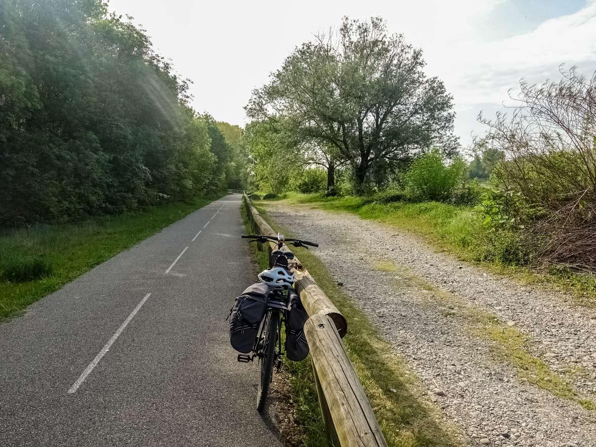 Countryside bike path exploring Provence Alpilles France