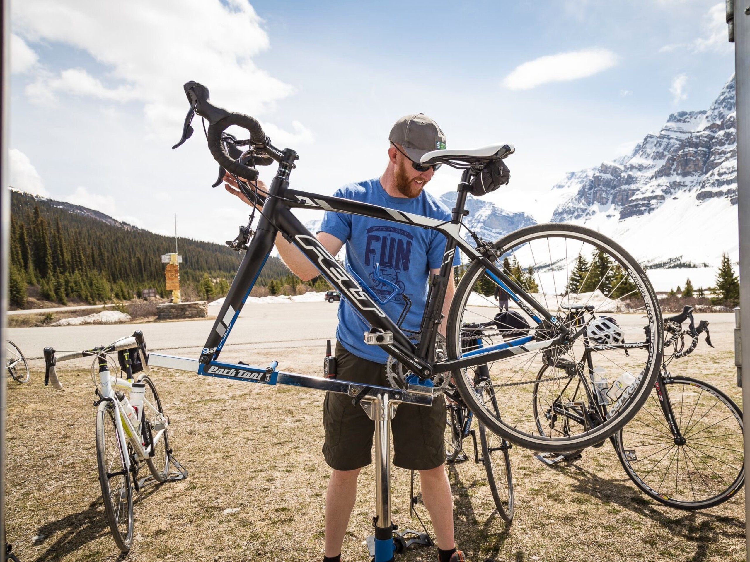 Assembling bikes before the ride on the Icefields Parkway