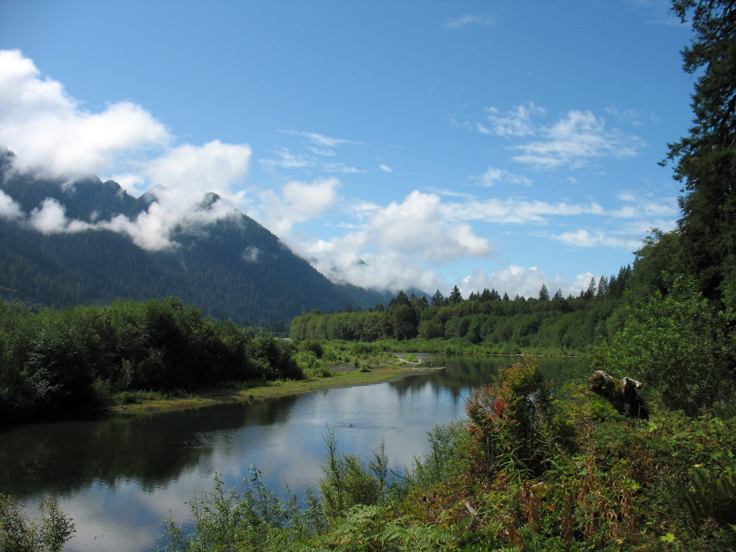 River, mountains and clouds at Olympic Peninsula