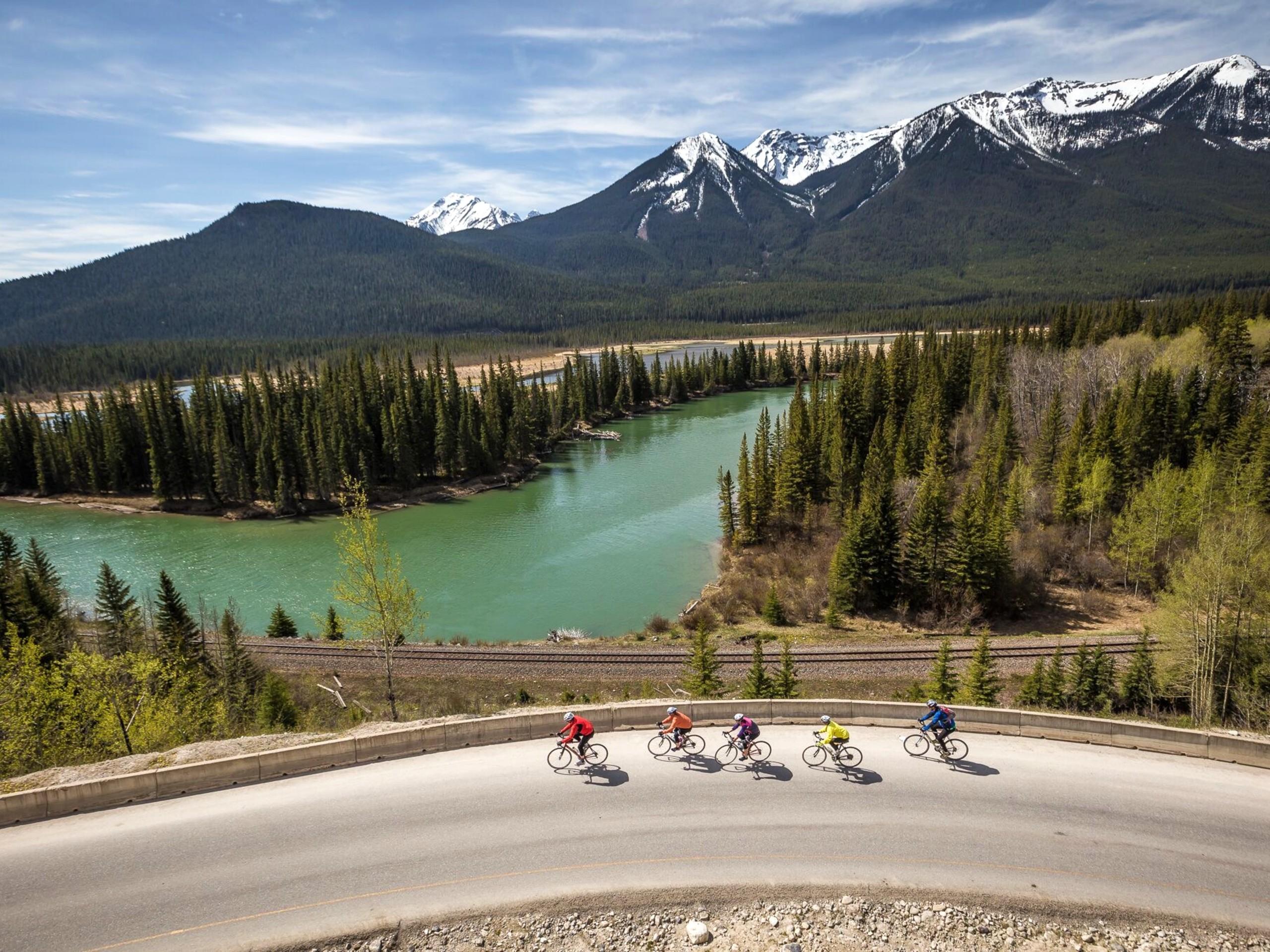 Group of road bikers near Jasper