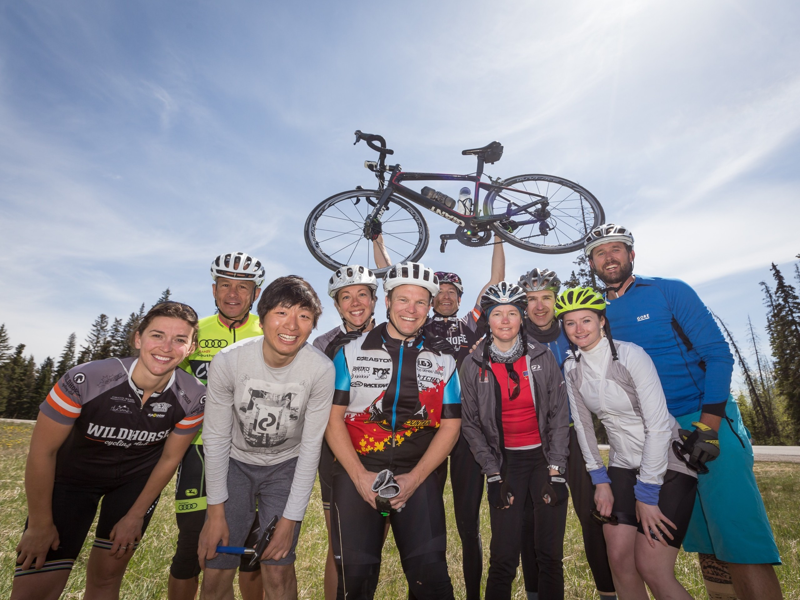 Group of cyclists posing