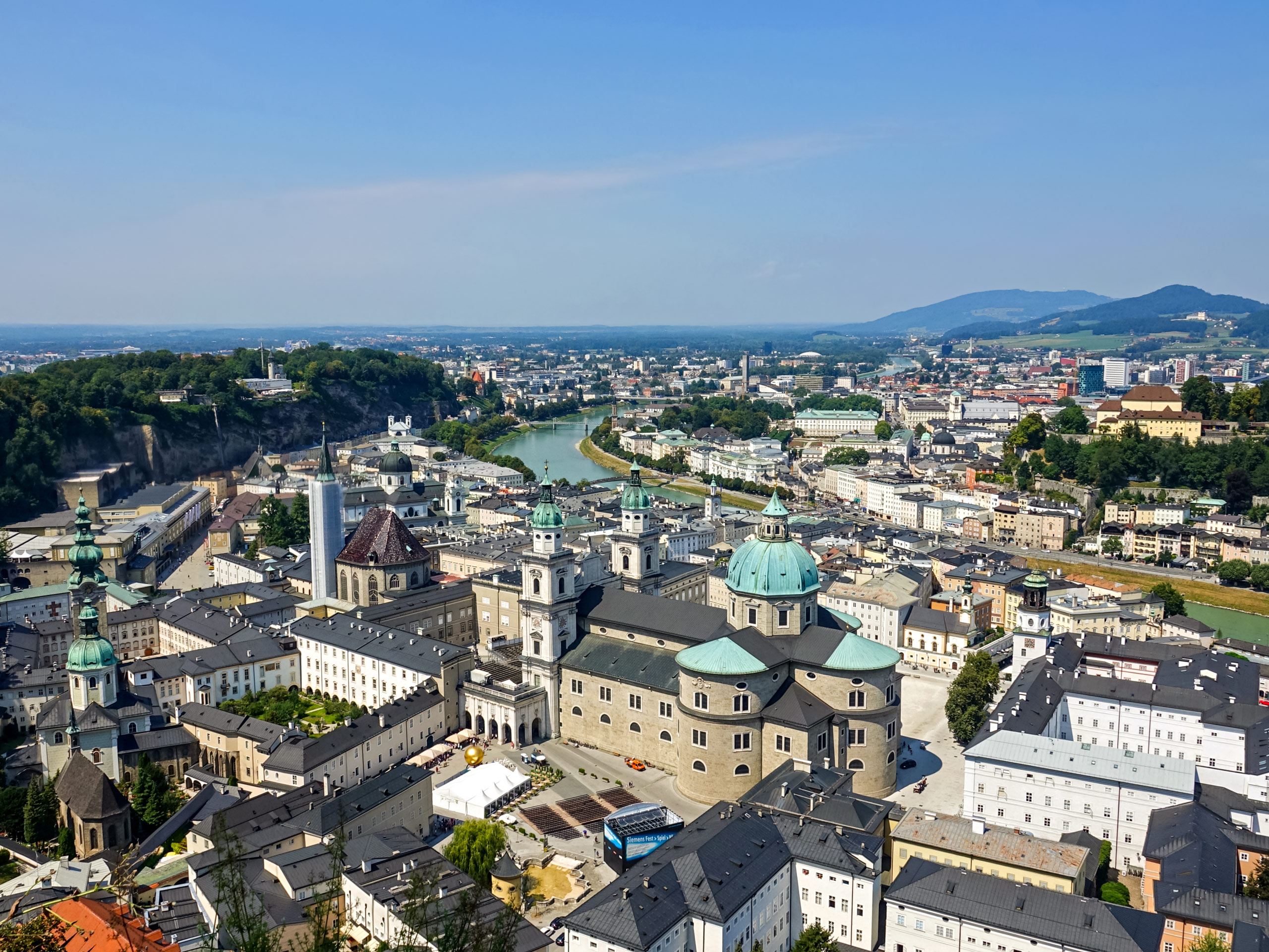 Salzach River salzburg city skyline biking Alps