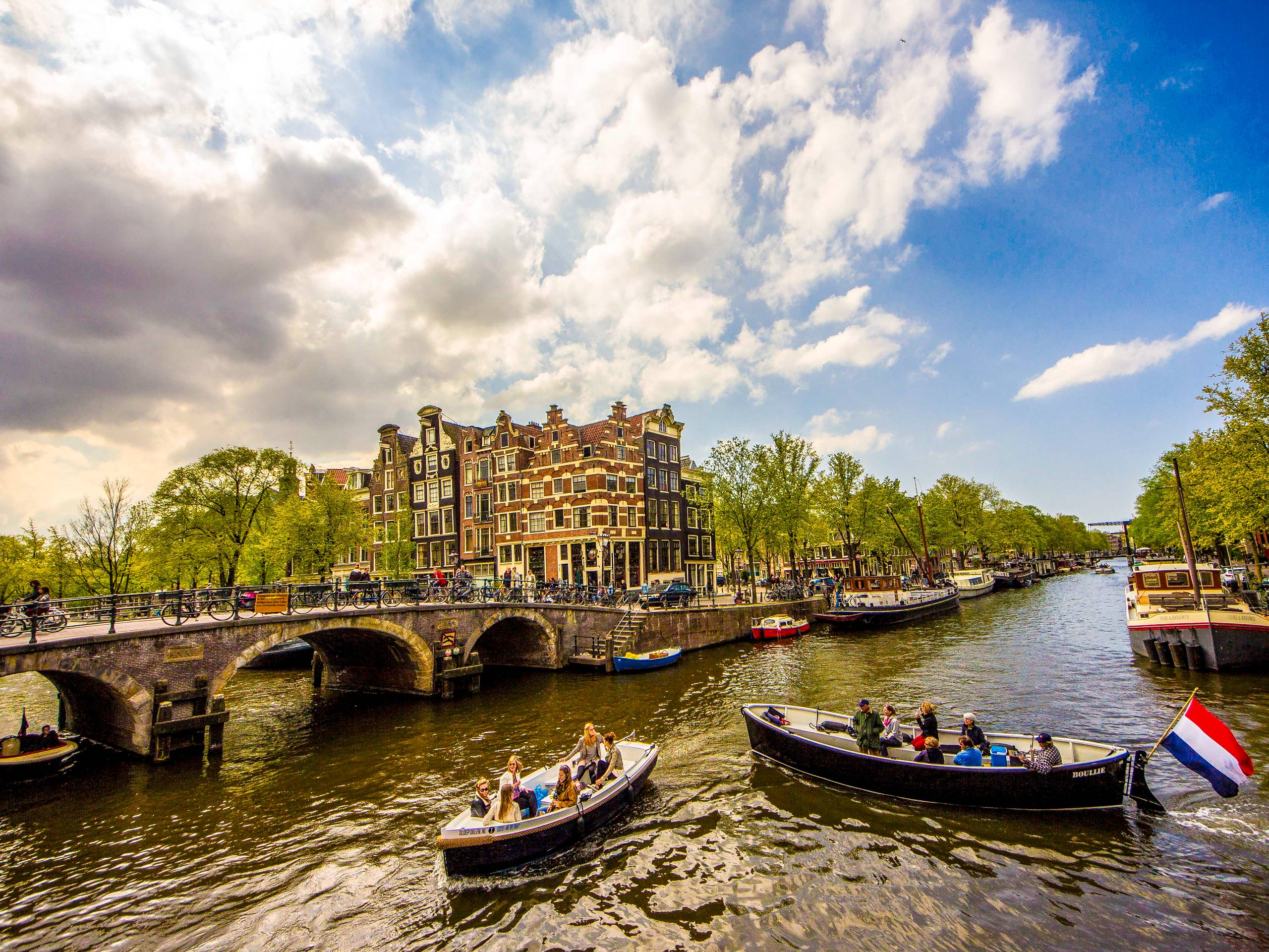 Amsterdam boats in the canal