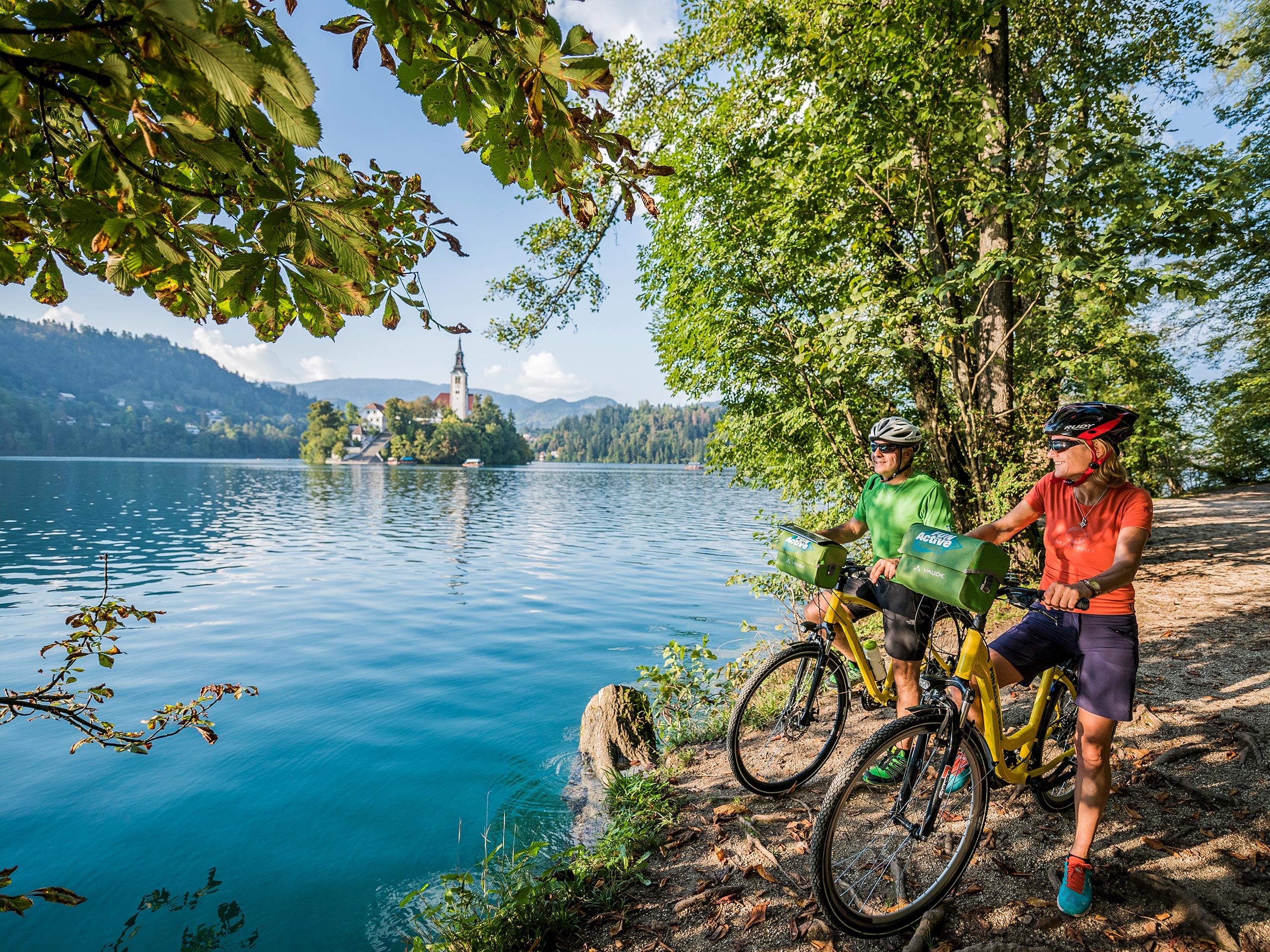 Group of Tourists Exploring Lake Bled