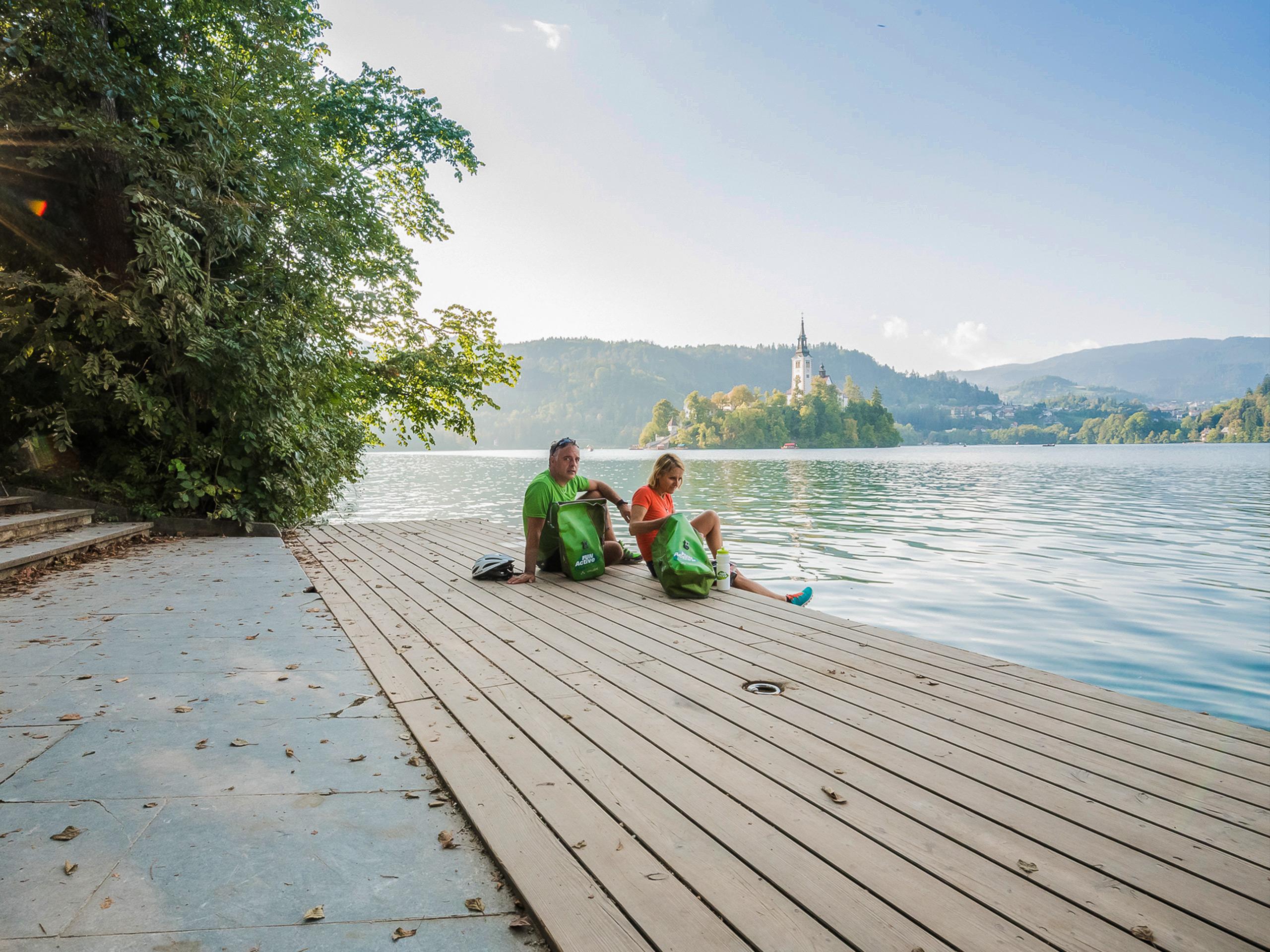 Tourists Enjoying the Views of Lake Bled