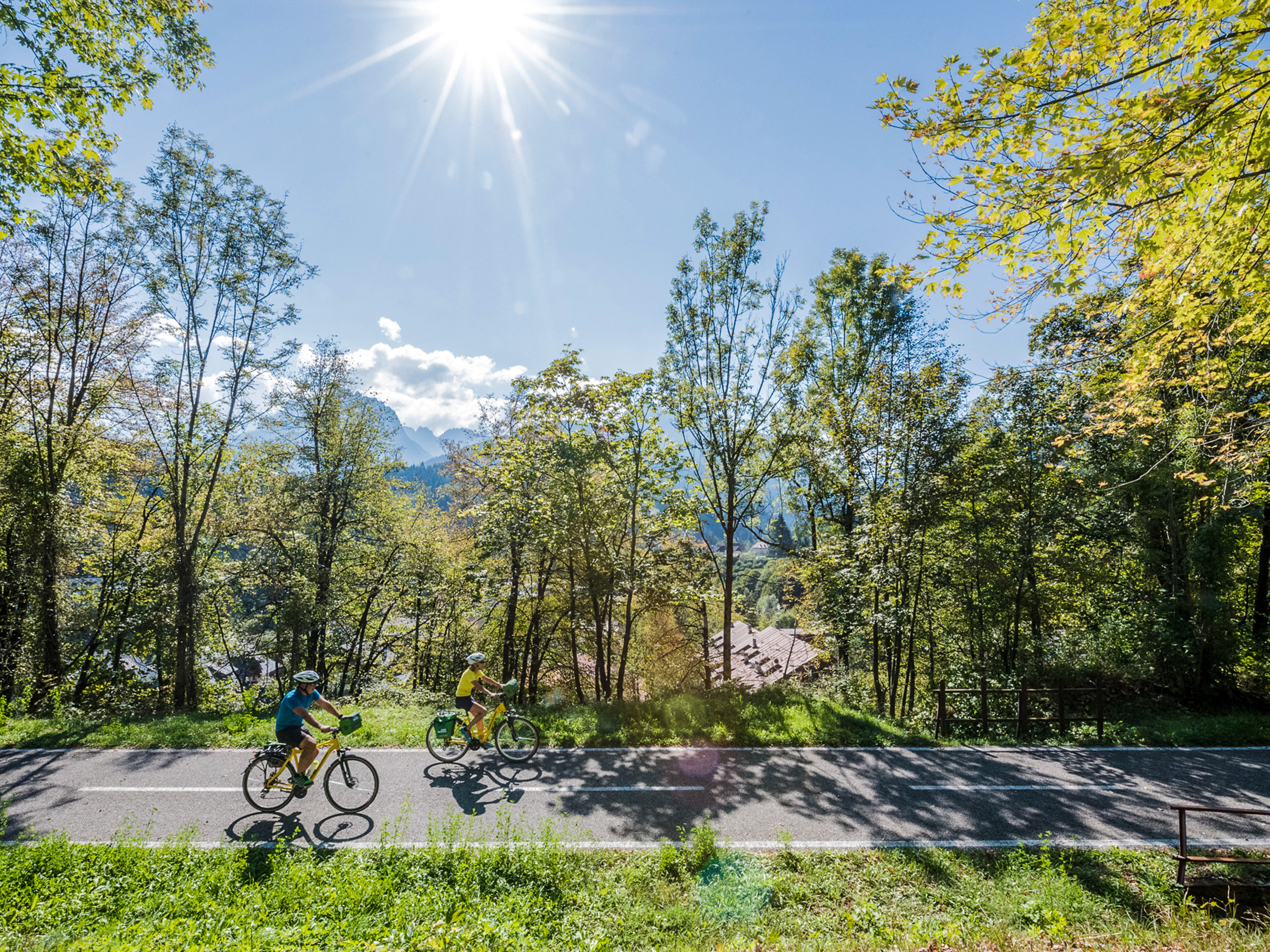 Cycling on a sunny day