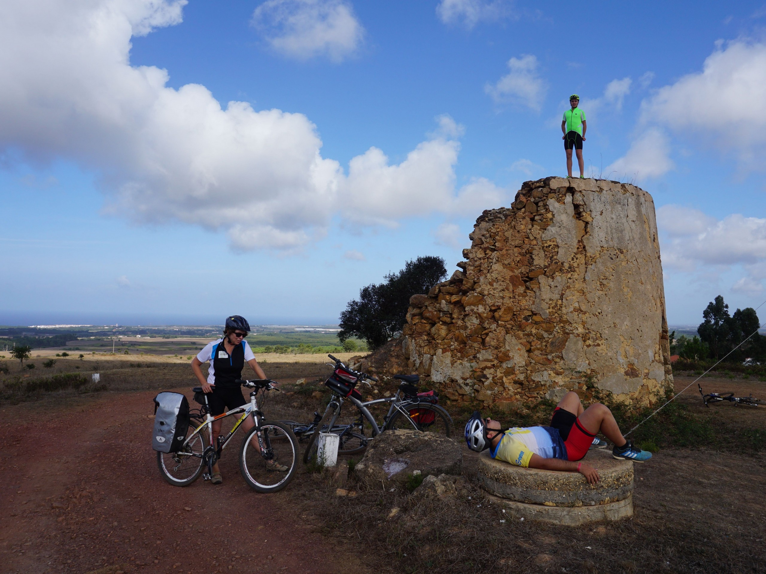 Bikers resting along the cycling route in Portugal