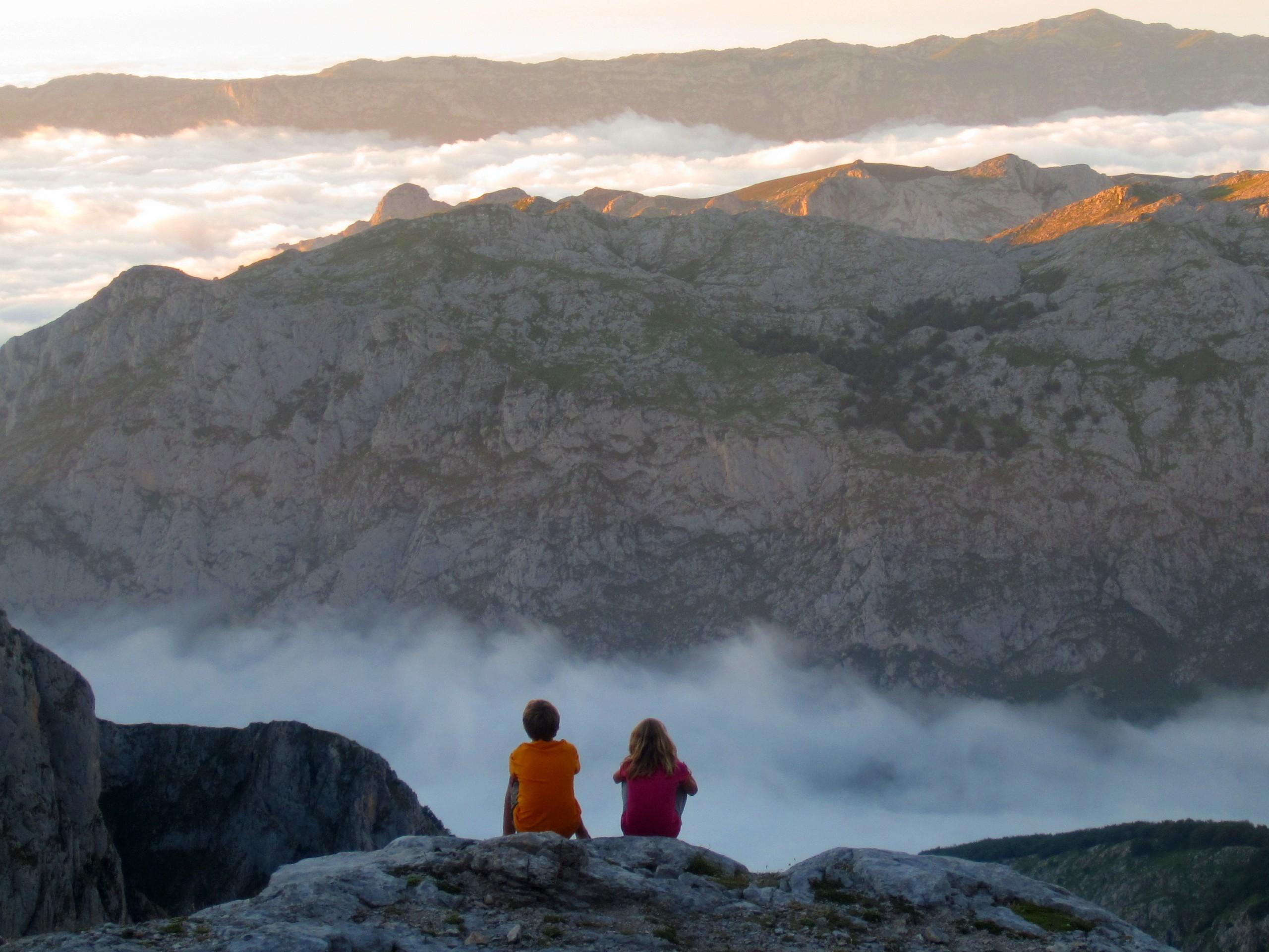 Couple enjoying the sunset views near Picos de Europa