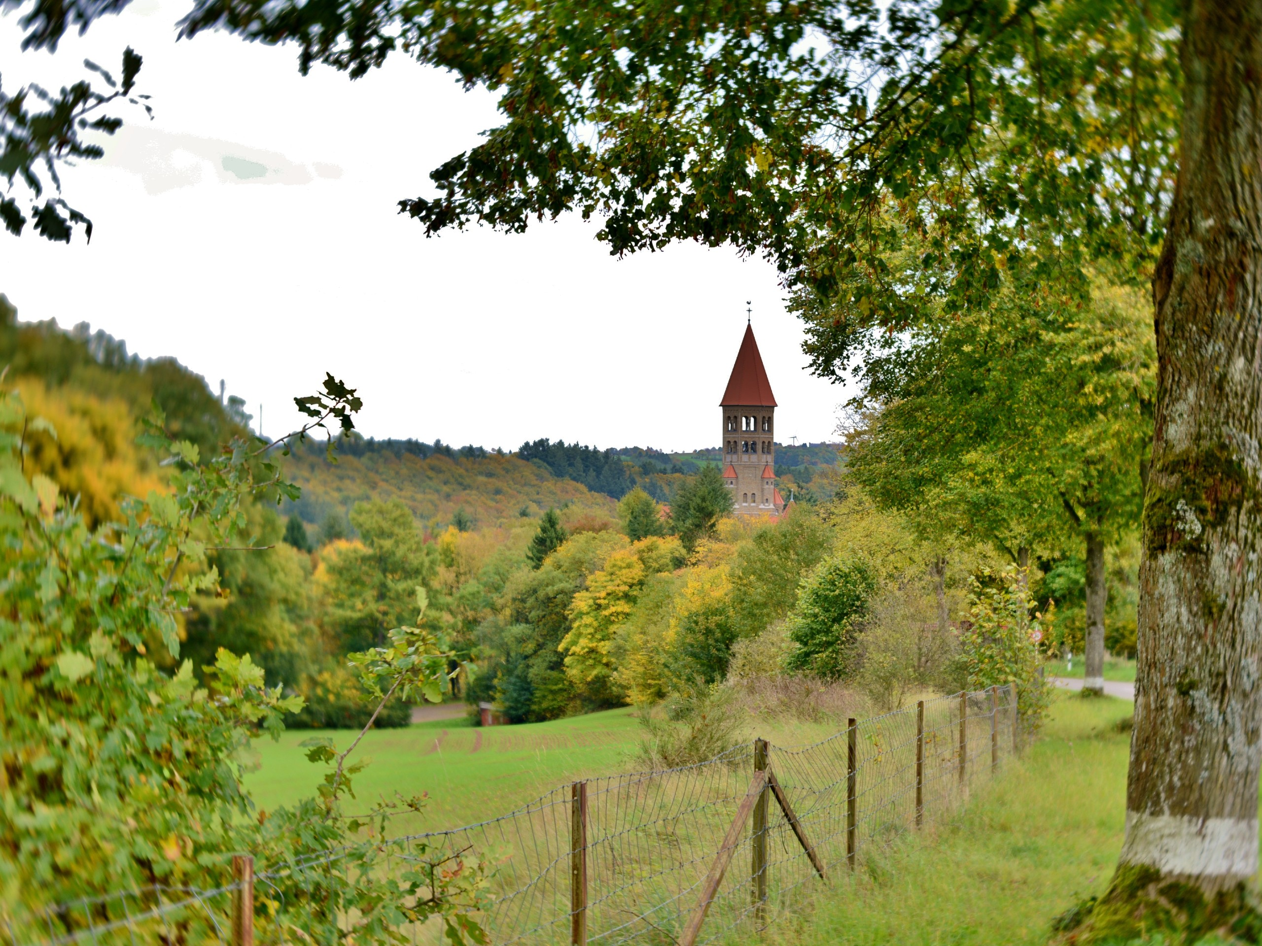 Green pastures and a church, seen in Belgium