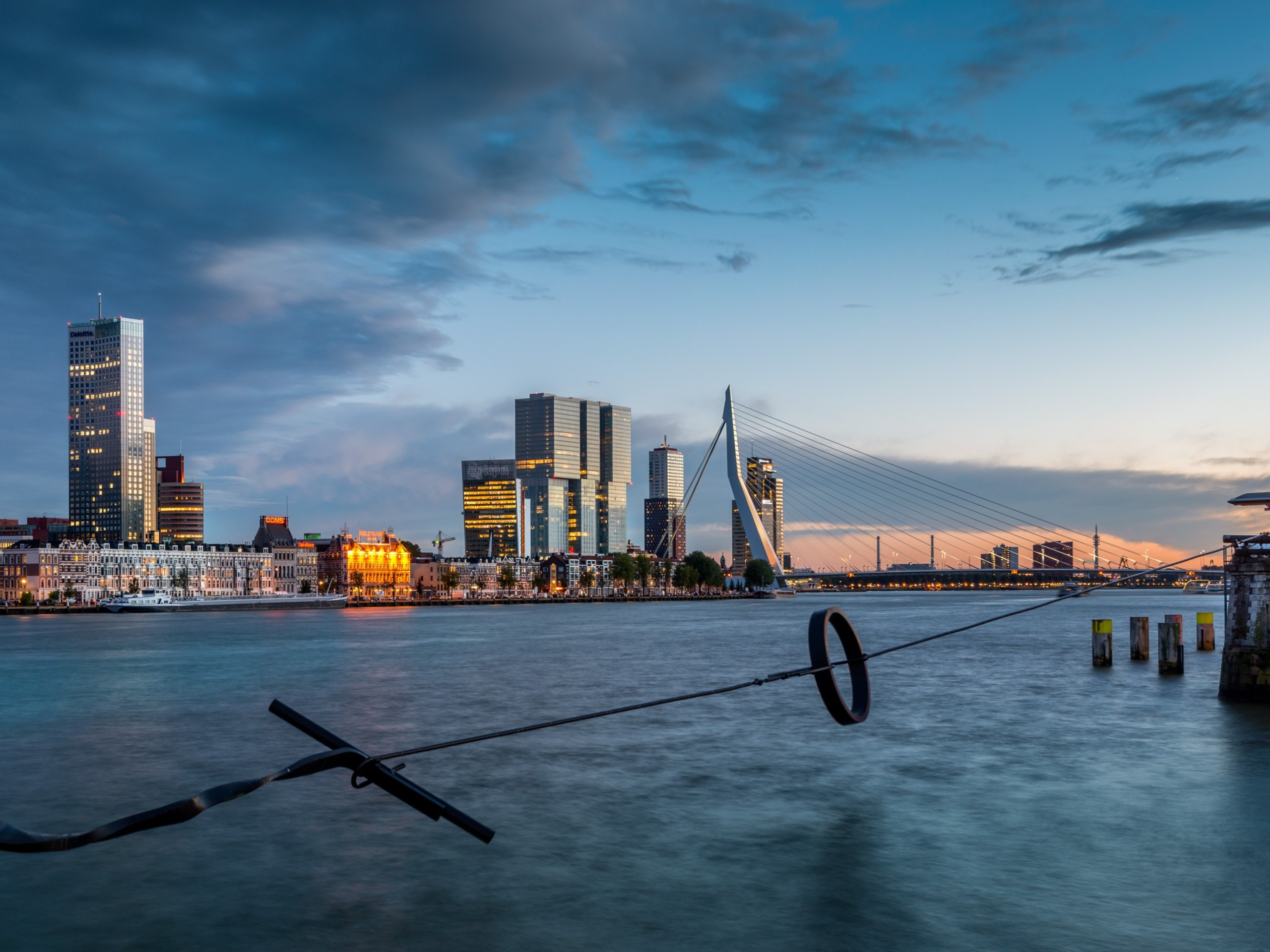 Rotterdam during the sunset