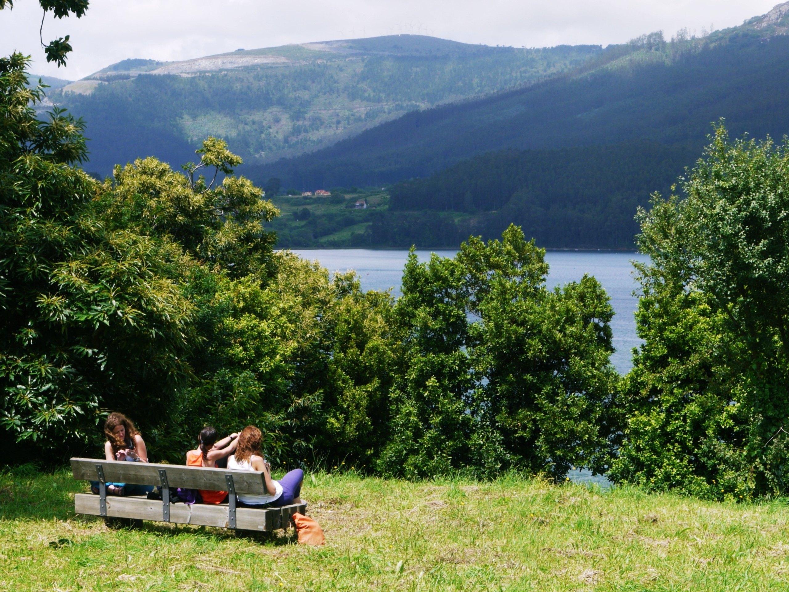Three ladies enjoying the views in Ortigueira, Spain