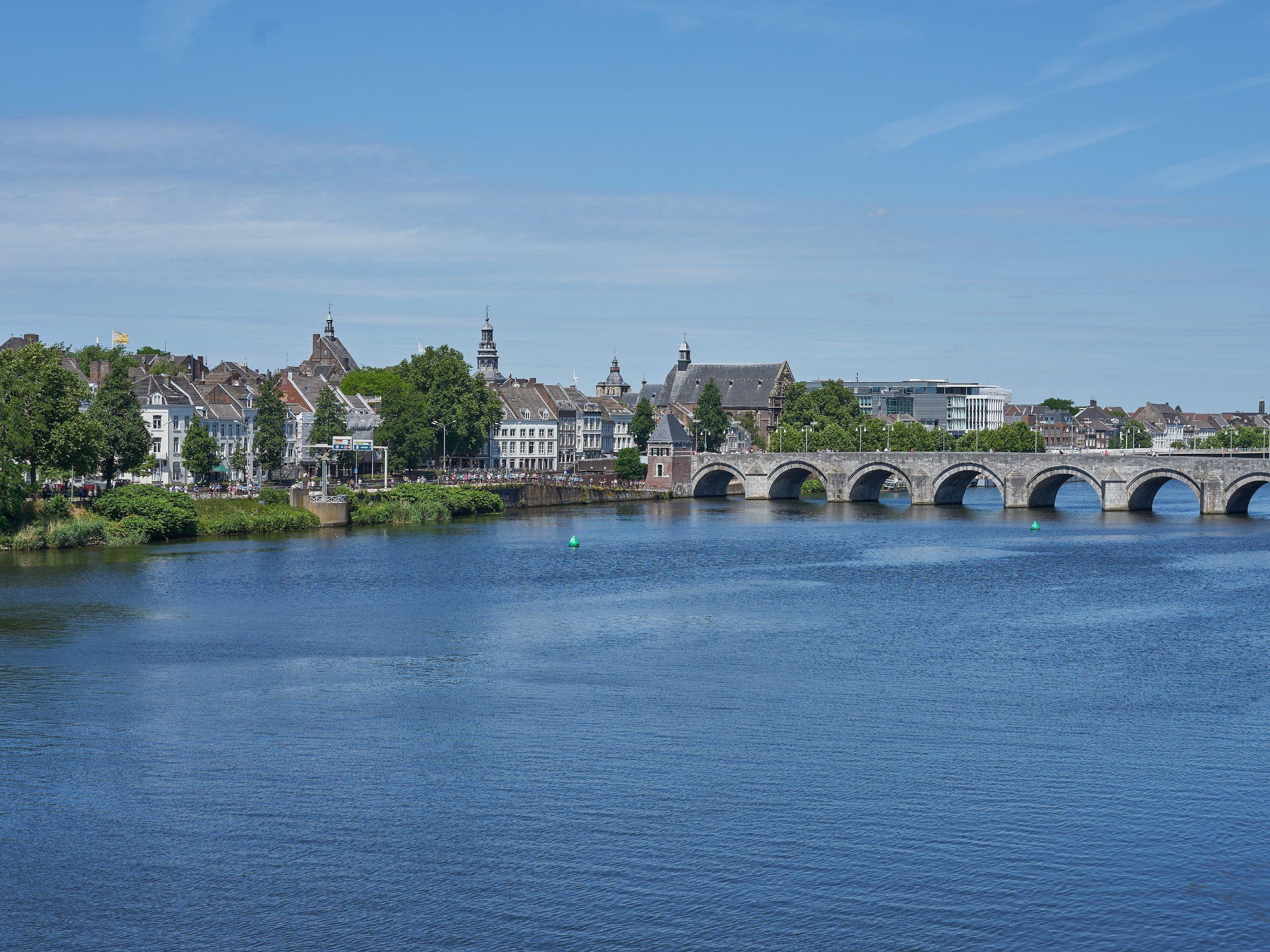 Wide river, crossed on Benilux biking tour