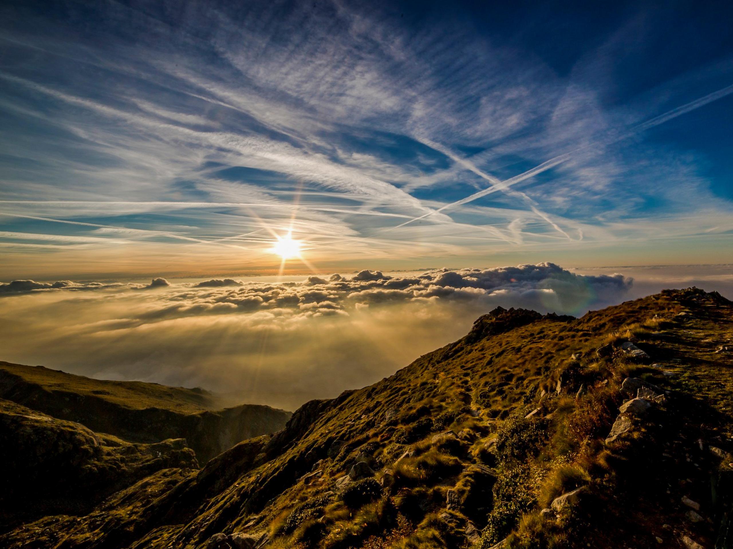 Amazing sunrise in Slovenia mountains